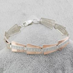 Серебряные браслеты с золотыми вставками
