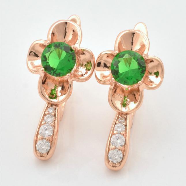Серьги Xuping Приморское сокровище 20704РО размер 20х10 мм зелёные фианиты позолота РО