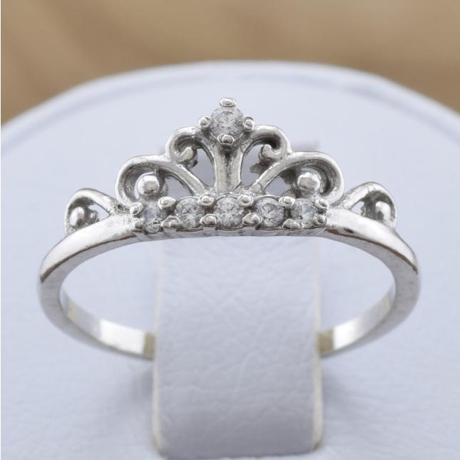 Кольцо серебряное женское Диадема вставка белые фианиты вес 1.5 г размер 14.5