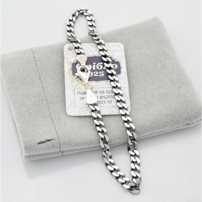 Серебряный браслет с чернением Панцирный длина 21.5 см ширина 4 мм вес серебра 7.0 г