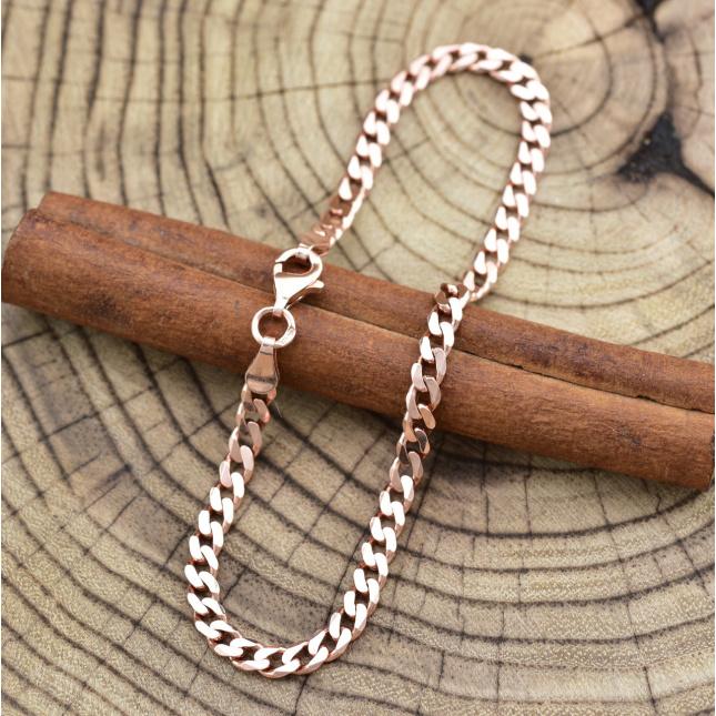 Серебряный браслет позолоченный Панцирный скруглённый длина 21.5 см ширина 3.5 мм вес 4.5 г