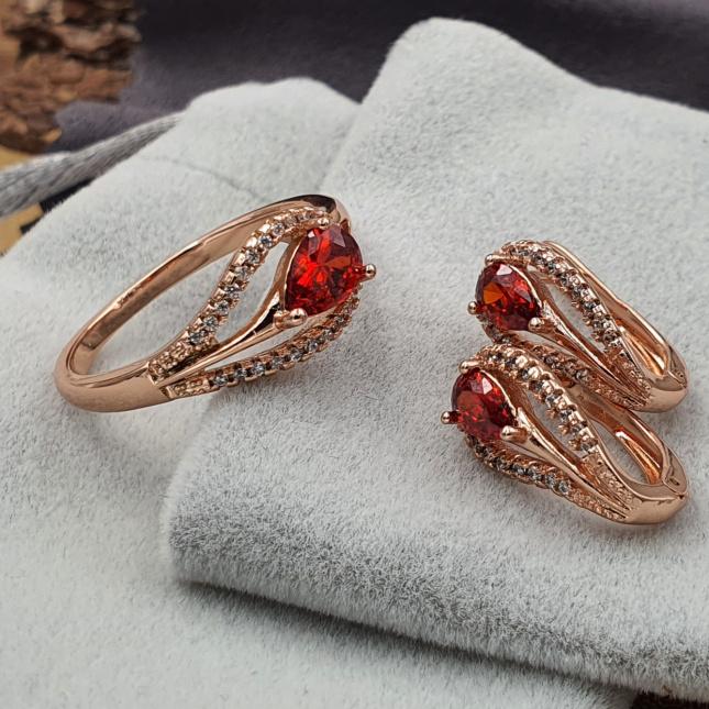 Набір Xuping 33182р21расп кільце 21р + сережки 16х8 мм червоні фіаніти позолота РО
