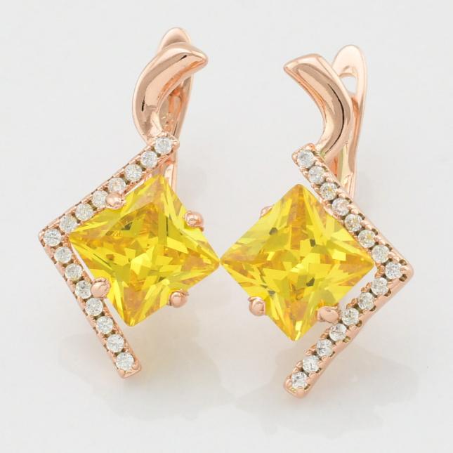 Сережки Xuping 25738розпродаж непарні розмір 20х11 мм жовті фіаніти вага 2.6 г позолота РО