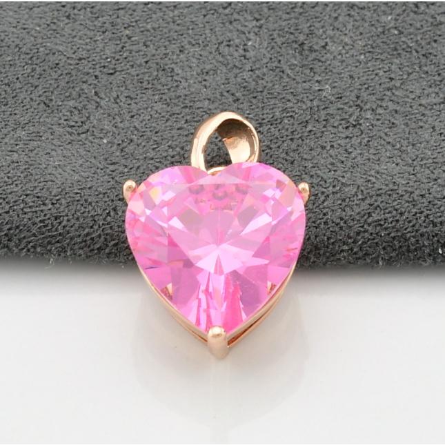 Кулон Xuping Діамантове серце для ланцюжка до 3 мм 80143 розмір 19х11 мм рожевий фіаніт вага 3.4 г поз