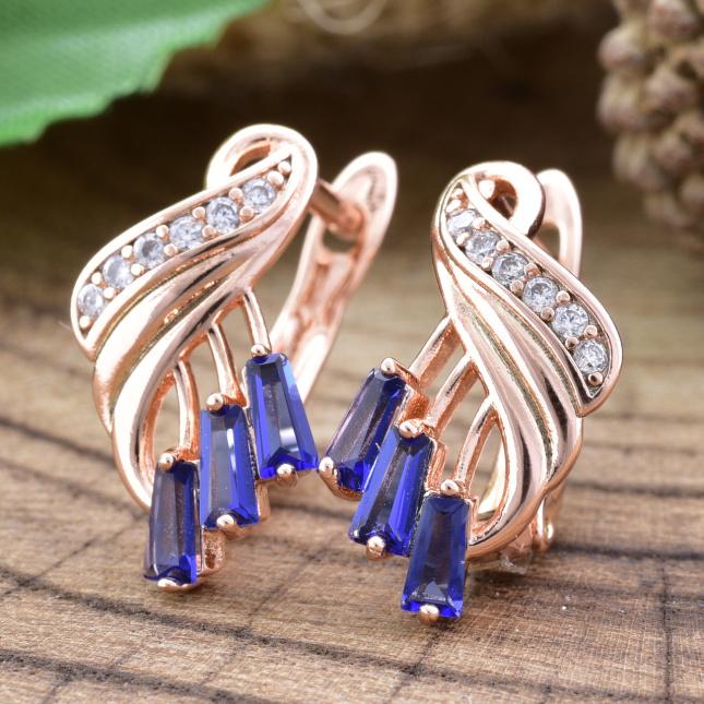 Сережки Xuping 25907 розмір 15х8 мм сині фіаніти вага 2.1 г позолота РО
