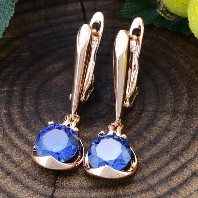 Сережки Xuping Невагомість 25972розпродаж напливи цятки розмір 28х10 мм вага 3.1 г сині фіаніти позолота РО
