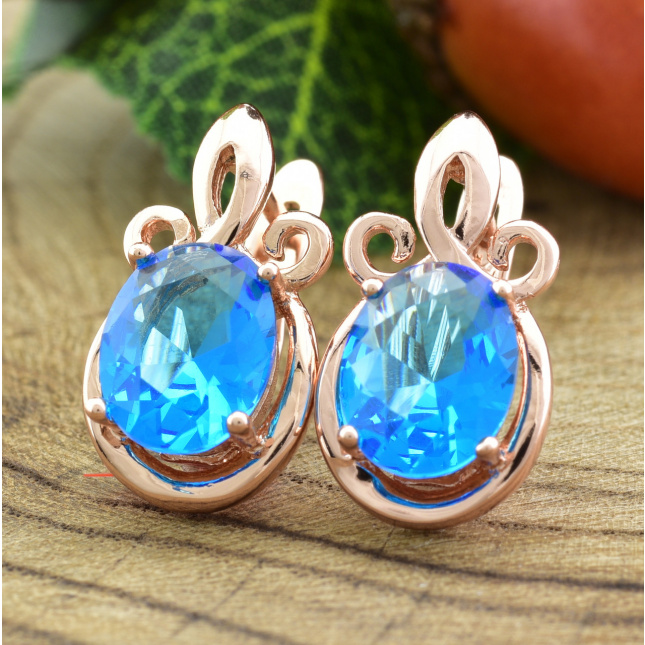 Серьги Xuping Корона 20504 размер 17х9 мм голубые фианиты позолота РО
