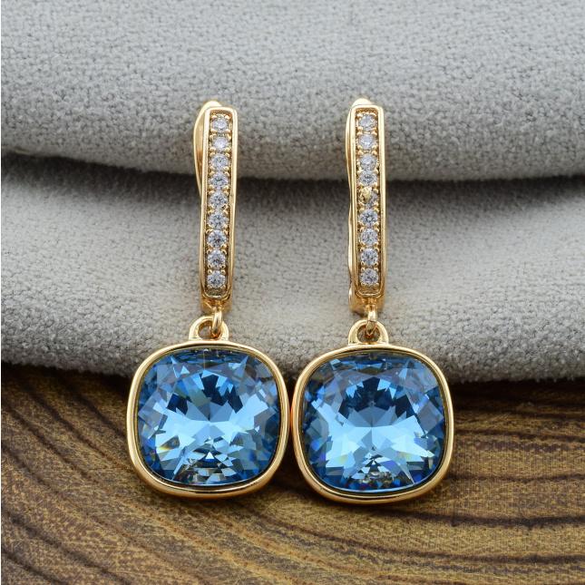 Сережки Xuping з кристалами Swarovski 26084розпродаж залитий камінь розмір 28х12 мм колір джинсовий синій позолота 18К