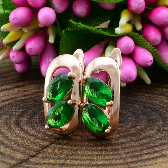 Сережки Xuping Мілано 21000 розмір 15х7 мм зелені фіаніти позолота РО