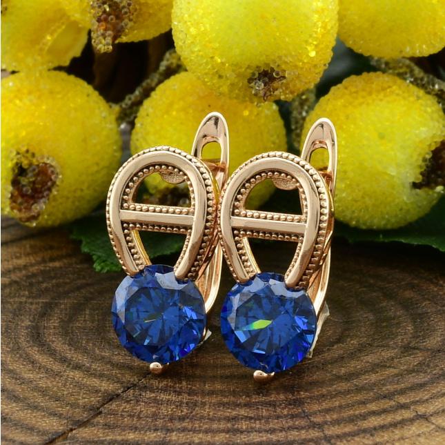 Сережки Xuping 26150розпродаж2 трохи різні відтінки розмір 18х8 мм вага 2.9 г сині фіаніти позолота 18К