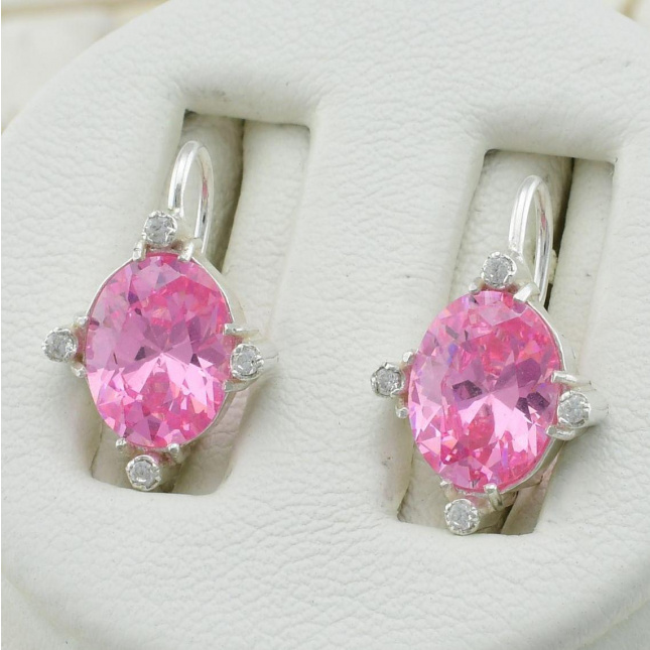 Серебряные серьги Кристалл размер 12х10  мм вставка розовые фианиты вес 3.3 г
