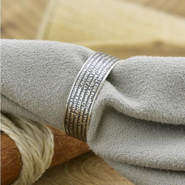 Серебряное кольцо Молитва водителя  вес 3.82 г размер 24