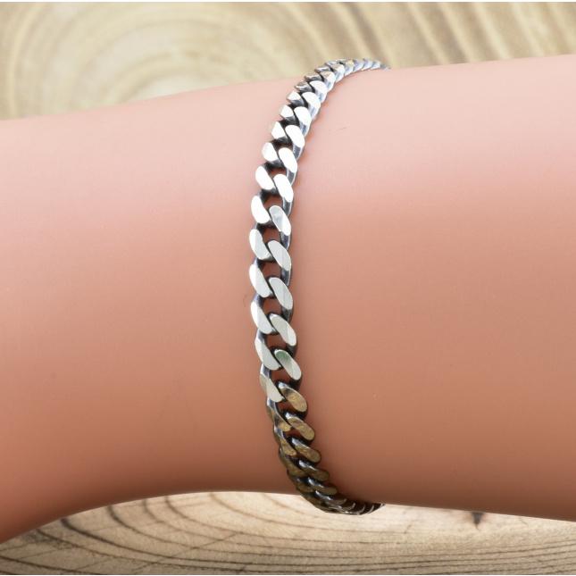 Серебряный браслет с чернением Панцирный скруглённый длина 20.5 см ширина 3.5 мм вес серебра 4.3 г