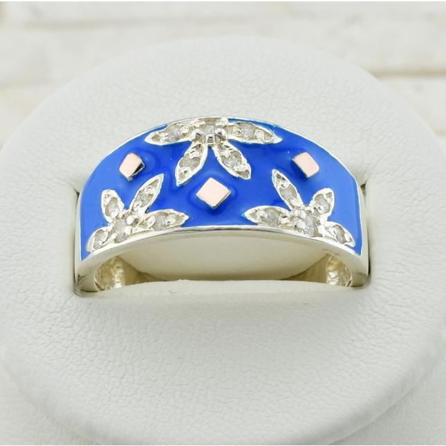Срібний перстень з золотом Фатіма розмір 18 вставка блакитна емаль вага 4 г
