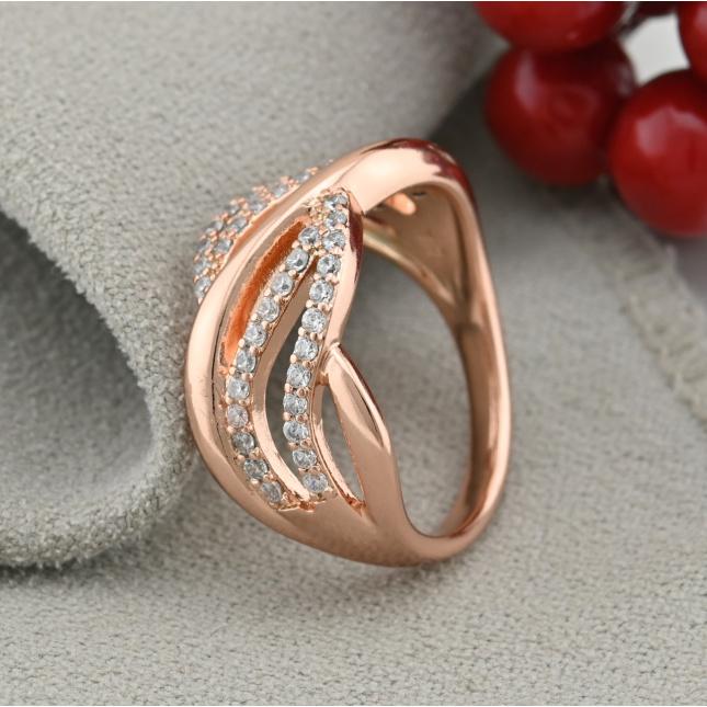 Кольцо Xuping 15110 ширина 10 мм белые фианиты позолота РО