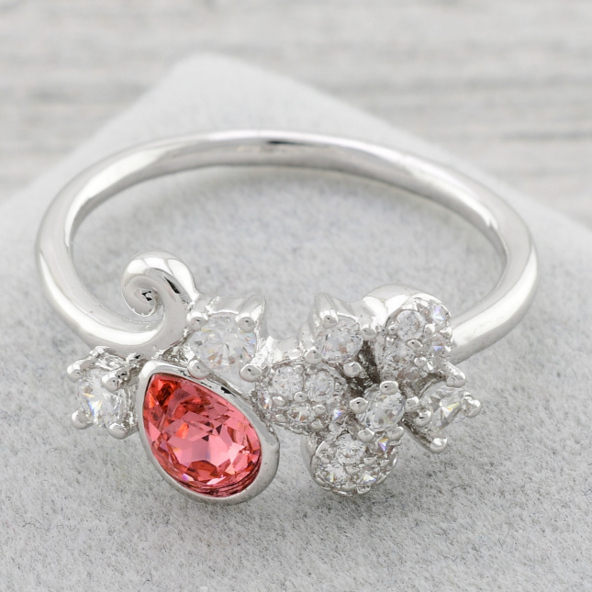 Каблучка Xuping з кристалами Swarovski 85004 колір кораловий позолота Біле Золото