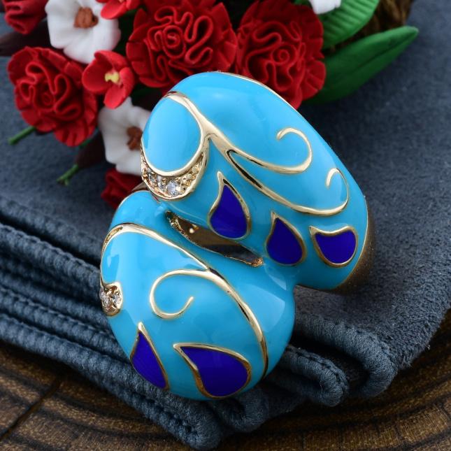 Кольцо Xuping 14410 ширина 29 мм белые фианиты голубая эмаль позолота 18К