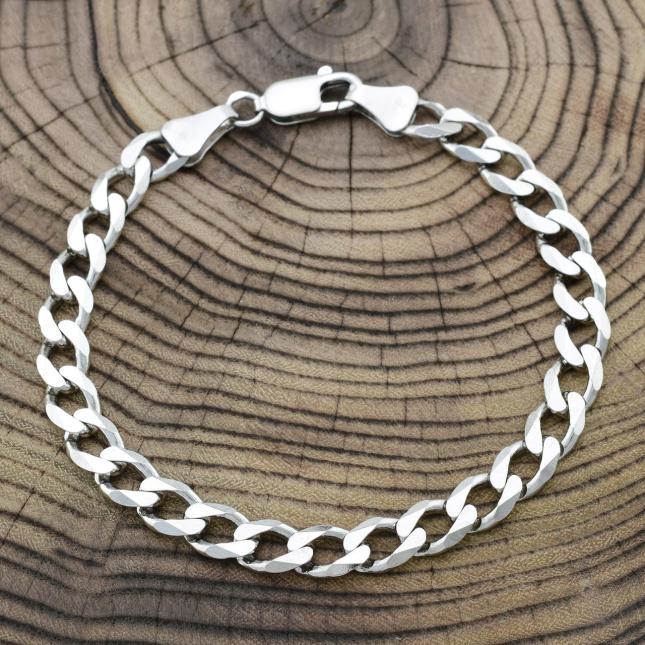 Серебряный браслет родированный Панцирный скруглённый мужской ширина 7 мм