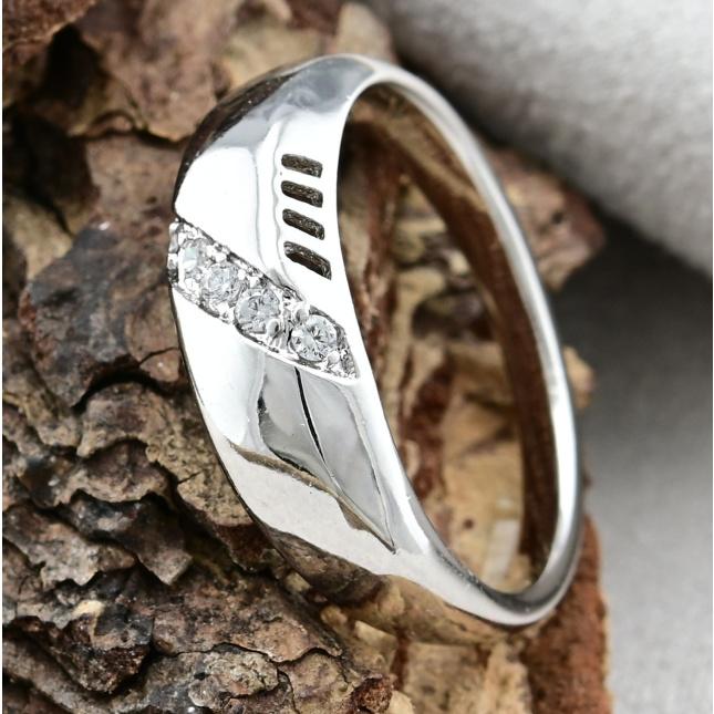 Кольцо Xuping 14352 ширина 6 мм белые фианиты позолота Белое золото