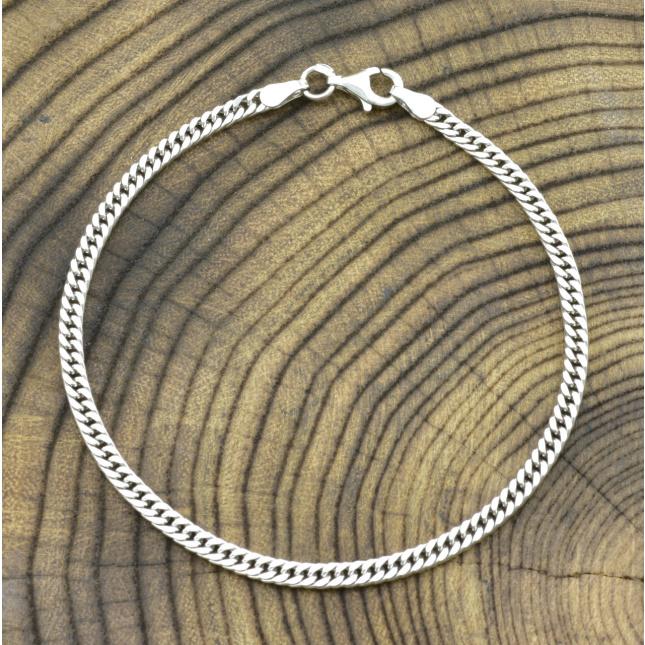 Серебряный браслет родированный Панцирный двойной ширина 3 мм
