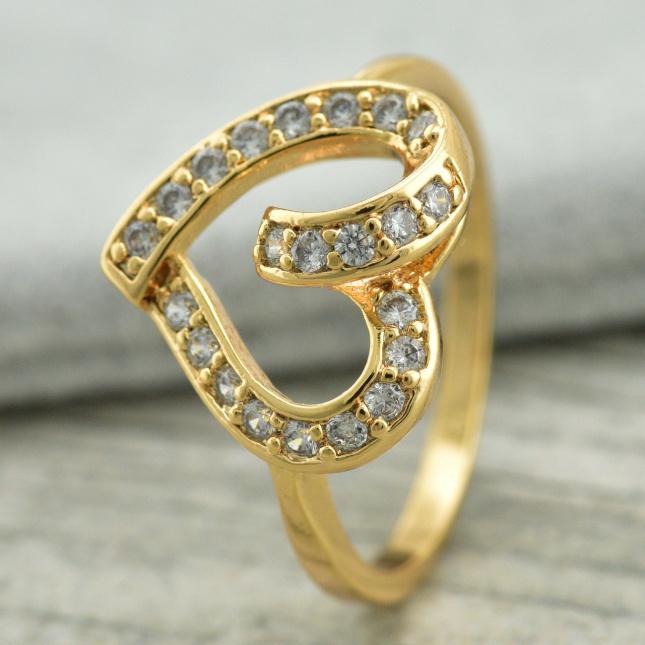 Кольцо Xuping 11734 ширина 13 мм фианит позолота 18К