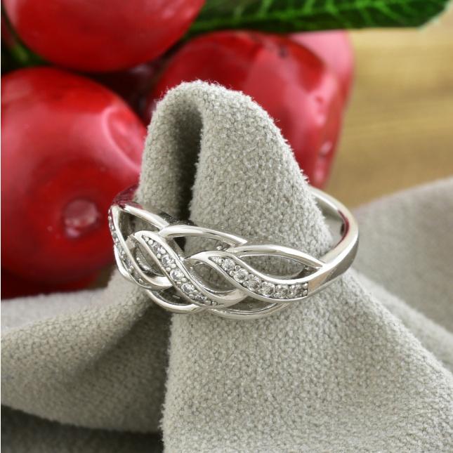 Кольцо Xuping 14465 ширина 7 мм белые фианиты позолота БЗ