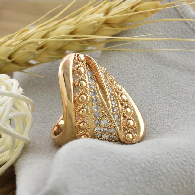 Каблучка Xuping 14469 ширина 25 мм білі фіаніти позолота 18К