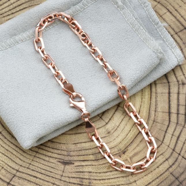 Серебряный браслет позолоченный Якорный ширина 5 мм