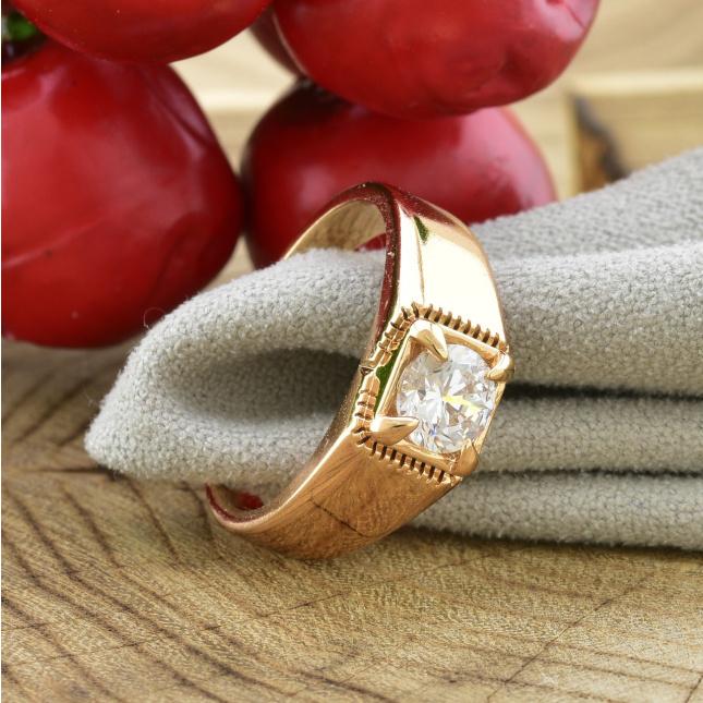 Кольцо Xuping 14460 ширина 7 мм белые фианиты позолота 18К