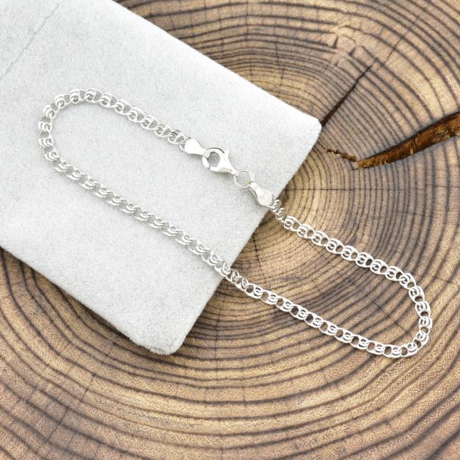 Серебряный браслет родированный Love ширина 3 мм
