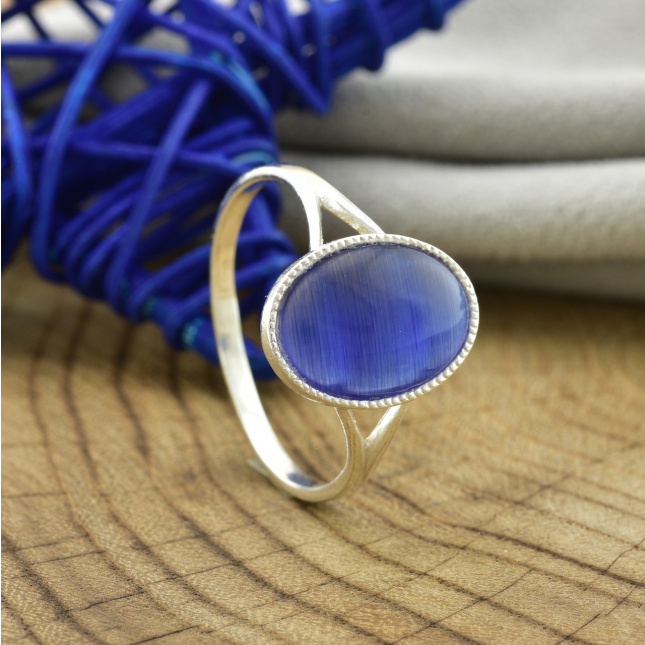 Срібна каблучка Дзеркальце синій улексит