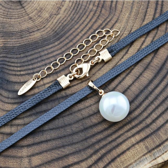 Шнурок Xuping широкий 51766 ширина 3 мм штучні перлини позолота 18К