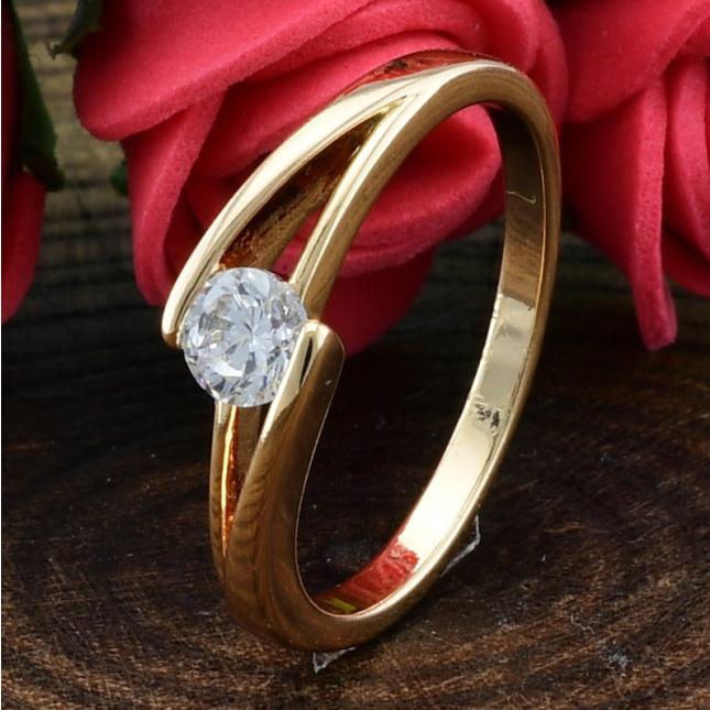 Кольцо Xuping 14446 ширина 5 мм белые фианиты позолота 18К