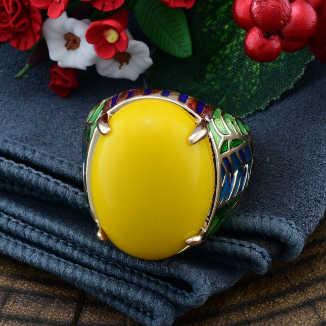 Кольцо Xuping 14413 ширина 21 мм желтая эмаль позолота 18К