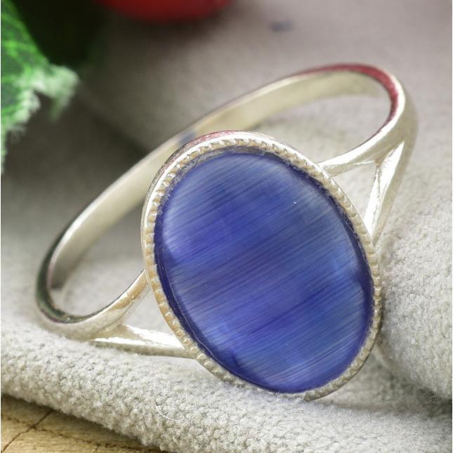 Кольцо серебряное женское Люстерко вставка синий улексит
