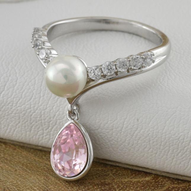 Каблучка Xuping з кристалами Swarovski 85002 колір світло-рожевий позолота Біле Золото