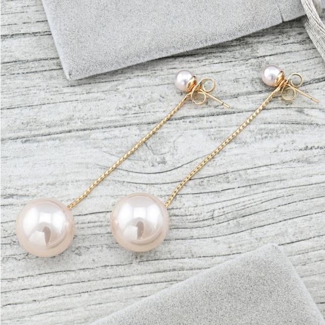 Сережки Xuping 35605 розмір 70х15 мм штучні перли вага 5.9 г позолота 18К