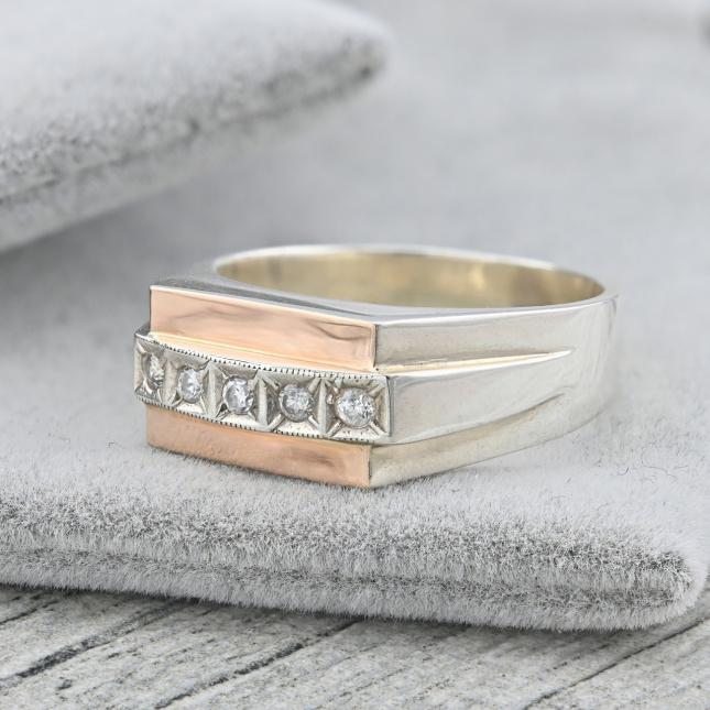 Срібний перстень з золотом Ш357расп пляма на пластині розмір 21 вставка білий фианит вага 9.3 г