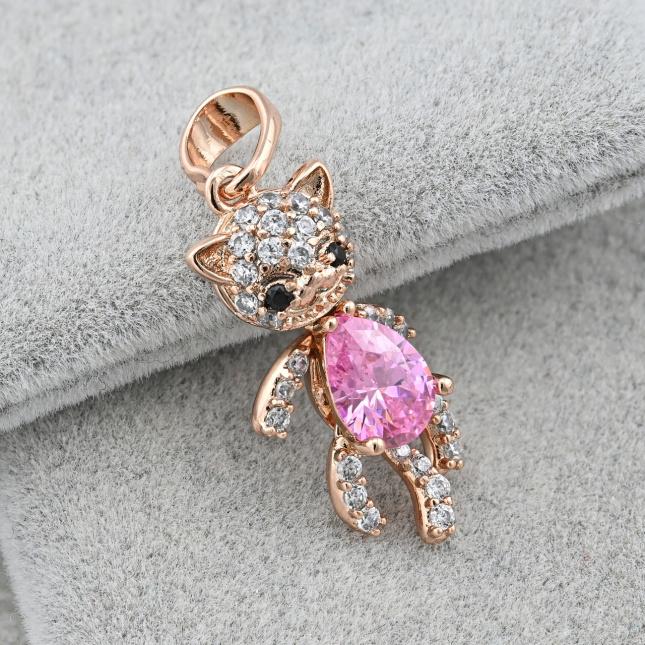 Кулон Xuping для ланцюжків до 3 мм 37300 розмір 26х9 мм вага 1.6 г рожеві фіаніти позолота РО