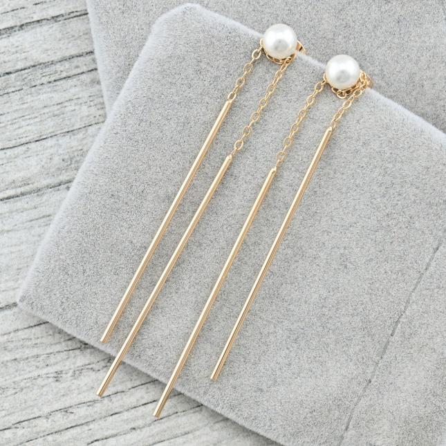Сережки Xuping 37321 розмір 72х6 мм штучні перли вага 3.1 г позолота 18К