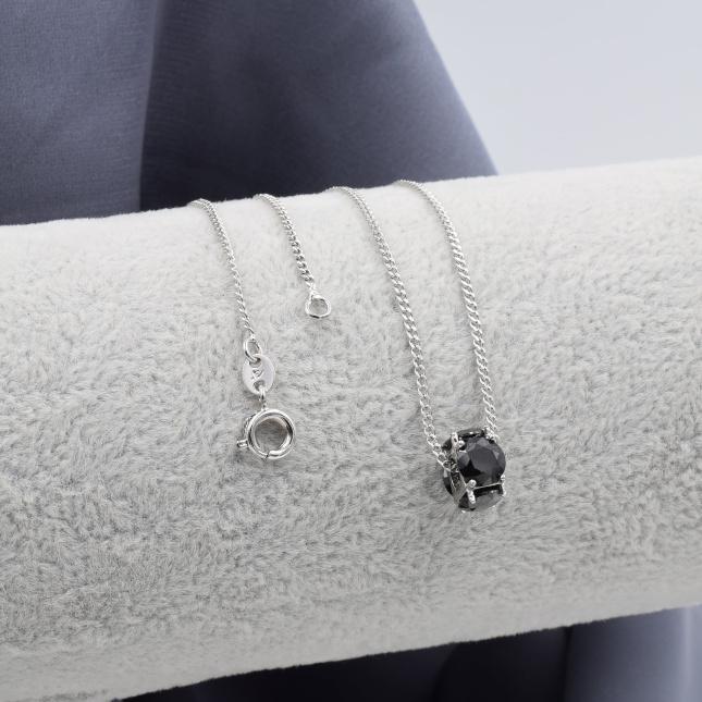 Ланцюжок Xuping з кулоном 39999 ширина 1 мм чорні фіаніти позолота Біле золото