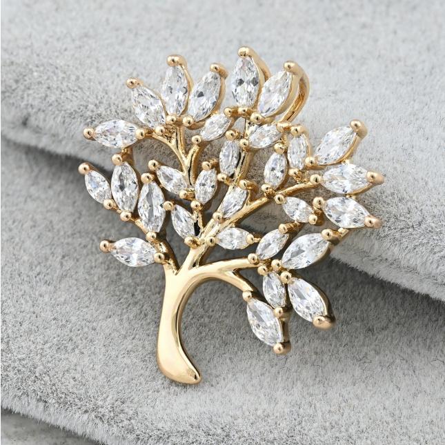 Кулон Xuping Діамантове дерево для ланцюжка до 1 мм 81040 розмір 25х24 мм вага 2.2 г білі фіаніти позолота 18К