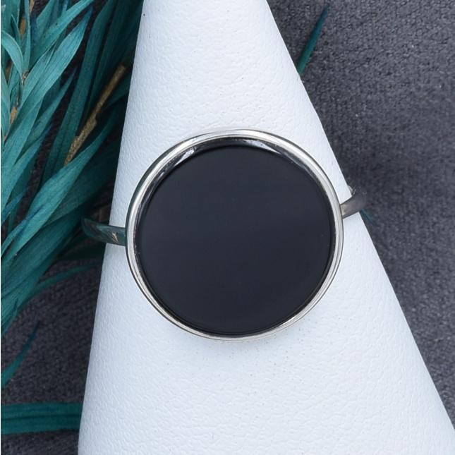 Кольцо серебряное женское размер 15.5 вставка черный оникс вес 2 г
