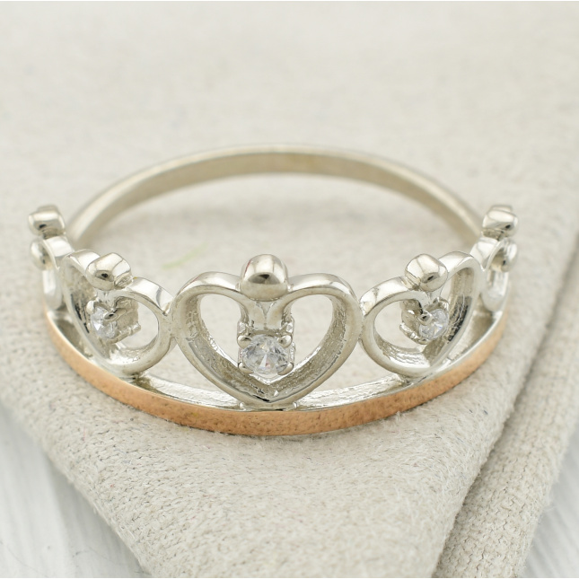 Кольцо серебряное женское БС848 размер 19 вставка белые фианиты вес 2.0 г