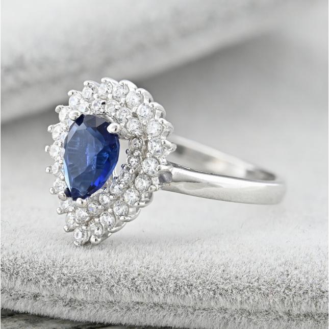Каблучка срібна жіноча темний камінчик розмір 17.5 ширина 15 мм вставка сині фіаніти вага 3.6 г