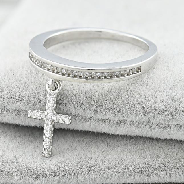 Каблучка срібна жіноча ТК9747р16расп темний камінь розмір 16 вставка білі фіаніти вага 2.6 г