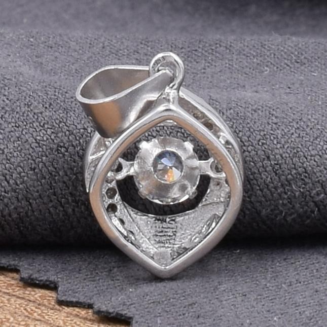 Срібний кулон ТП8090расп каламутні камені розмір 20х10 мм вставка білі фіаніти вага 1.6 г