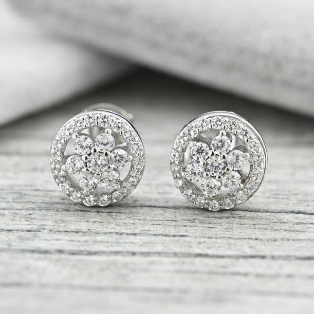 Срібні сережки-гвоздики криво вставлений камінь слабка застібка розмір 8х8 мм вставка білі фіаніти вага 2.2 г