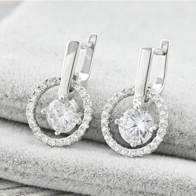 Срібні сережки ТС1781расп темні камені розмір 20х12 мм вставка білі фіаніти вага 3.26 г