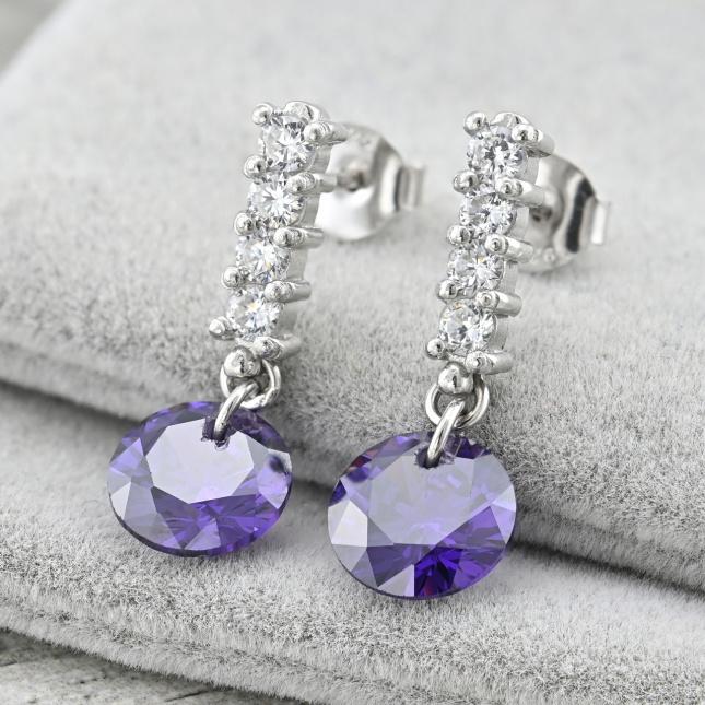 Срібні сережки гвоздики ТС380002расп скол розмір 25х10 мм вставка фіолетові фіаніти вага 4.6 г